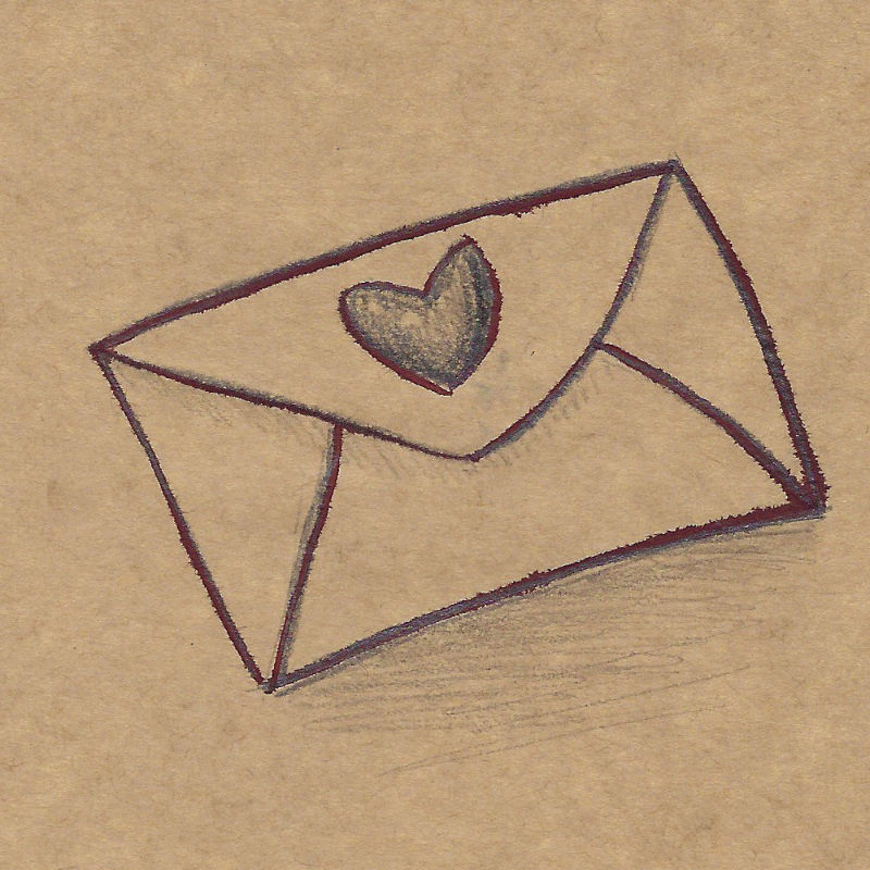 An illustration of an envelope with a heart on it