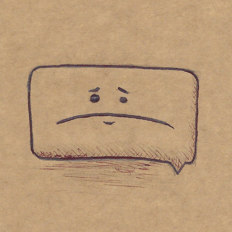 An illustration of a speech bubble with a sad face in it